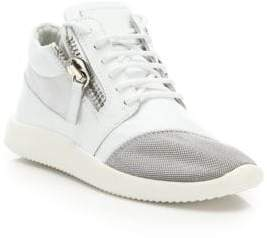 Giuseppe Zanotti Leather& Mesh Side-Zip Sneakers