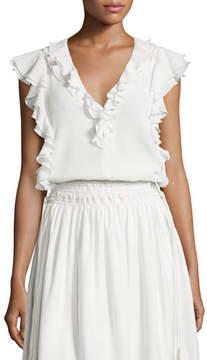 Apiece Apart Condesa Double-Ruffle Sleeveless Top, White