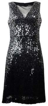 Jessica Simpson Women's Sequin Sleeveless Flare Dress (6, Silver/Black)