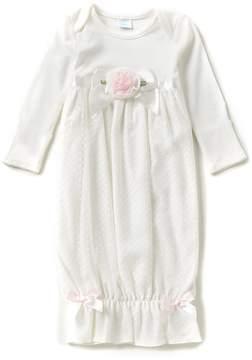 Edgehill Collection Baby Girls Newborn-6 Months Long-Sleeve Rosette Dress