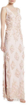 Aidan Mattox 3D Embroidered V-Neck Slip Gown