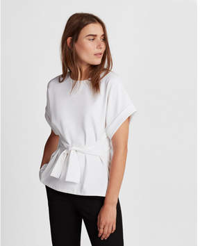 Express tie waist rolled sleeve blouse