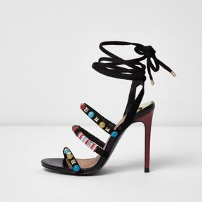 River Island Womens Black beaded tie-up barely there sandals