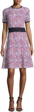 Carolina Herrera Short-Sleeve Polka Dot Knit Dress