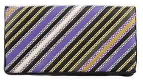 Bottega Veneta 2016 Striped Fold-Over Clutch