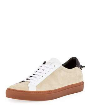 Givenchy Urban Street Colorblock Suede Low-Top Sneaker, Beige