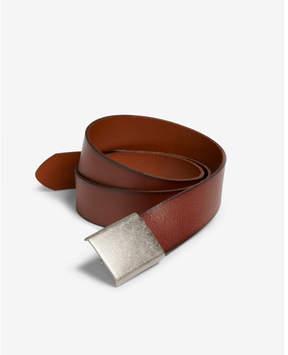 Express dark brown leather plaque belt