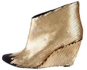 Sigerson Morrison Sequin Embellished Wedge Ankle Boots