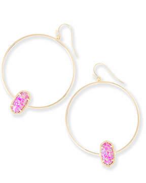 Kendra Scott Elora Hoop Earrings in Fuchsia Kyocera Opal