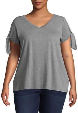 Boutique + + Short Tie Sleeve T-Shirt - Plus