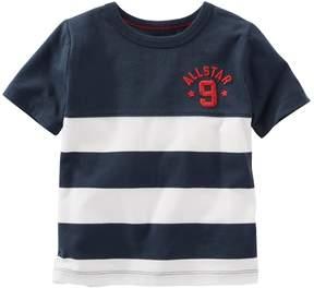 Osh Kosh Boys 4-8 Short Sleeve Embroidered Chest Striped Tee