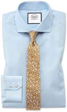 Charles Tyrwhitt Slim Fit Spread Collar Non-Iron Natural Cool Sky Blue Cotton Dress Shirt Single Cuff Size 14.5/33