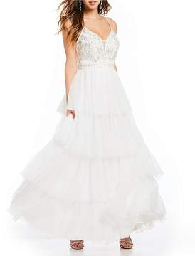 B. Darlin Spaghetti-Strap Beaded Bodice Tiered Ball Gown