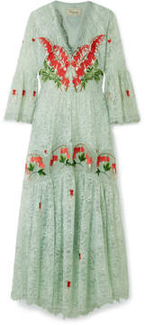 Temperley London Potion Embroidered Lace And Organza Dress - Sky blue