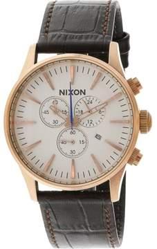 Nixon Men's Sentry Chrono Leather A4052459 Brown Quartz Fashion Watch
