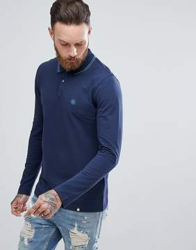 Pretty Green Long Sleeve Pique Tipped Polo Shirt In Navy