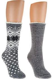Cuddl Duds Plushfill Cozy Lined Cabin Socks Setof 2
