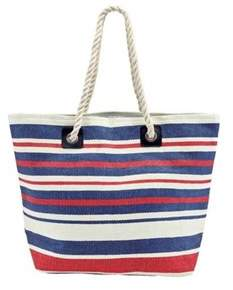 San Diego Hat Company Women's Woven Striped Tote With Rope Handles Bsb1704.