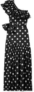Caroline Constas Rhea One-shoulder Ruffled Polka-dot Cotton-blend Poplin Maxi Dress - Black