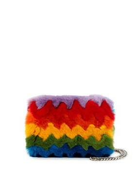Les Petits Joueurs Ginny Rainbow Fur and Napa Shoulder Bag