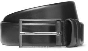 HUGO BOSS 3.5cm Black Carmello Leather Belt