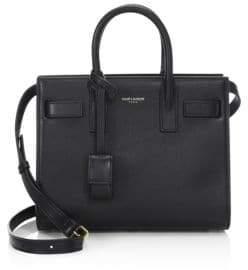 Saint Laurent Nano Smooth Leather Top Handle Bag - BLACK - STYLE