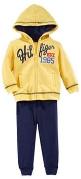 Tommy Hilfiger Infant Boys 2 Piece Yellow Blue Hoodie Jacket Sweat Pants Set 24m