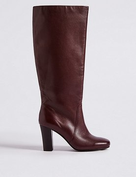 Marks and Spencer Leather Block Heel Knee High Boots