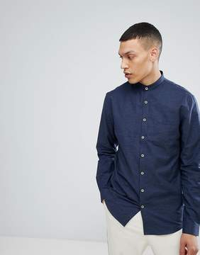 Lindbergh Neps Shirt with Grandad Collar in Navy