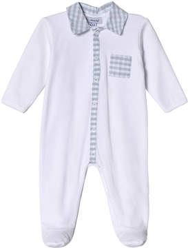 Absorba White Jersey Babygrow with Check Collar