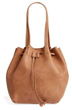 Street Level Faux Leather Drawstring Tote - Brown