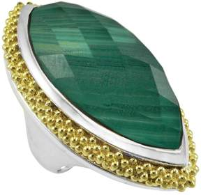 Lagos Sterling Silver & 18K Yellow Gold Malachite Doublet Caviar Halo Statement Ring - Size 7
