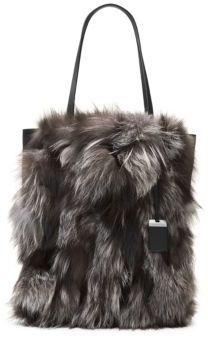 Michael Kors Eleanor Fox Fur Tote - SILVER - STYLE