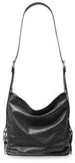 Michael Kors Grommets Leather Shoulder Bag - BLACK - STYLE
