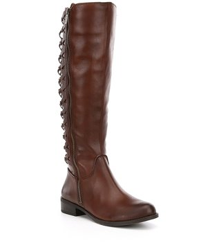 Gianni Bini Picard Lattice Back Detail Block Heel Leather Riding Boots