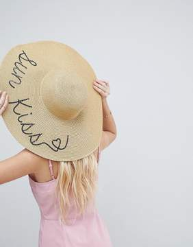 Asos Straw Metallic Floppy Hat with Sun Kiss Sequin Print and Size Adjuster