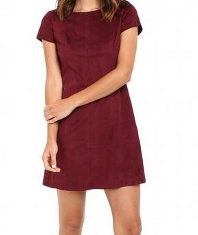 Jessica Simpson Women's Faux Suede Short Sleeves Dress (14, Winetasting)
