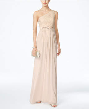 Adrianna Papell Embellished Lace One-Shoulder Gown