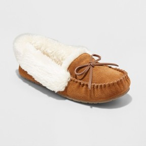 Mossimo Women's Tanisha Suede Moccasin Slippers Chestnut