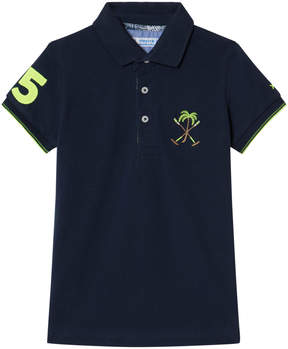 Mayoral Navy Polo with Embroidered Palm Tree Emblem