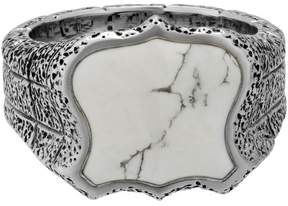 Stephen Webster 925 Sterling Silver Highwayman Oxidised Shield Howlite Inlay Ring Size 11