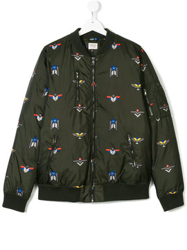 Armani Junior embroidered bomber jacket