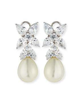 FANTASIA Flower Top CZ & Simulated Pearl Drop Earrings