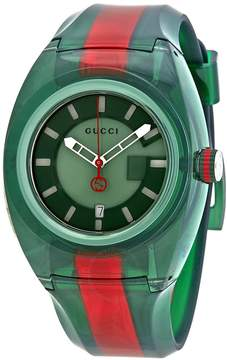 Gucci Sync Green Dial Men's Two Tone Rubber Watch