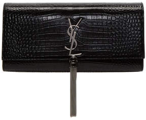 Saint Laurent Black Croc Kate Tassel Clutch