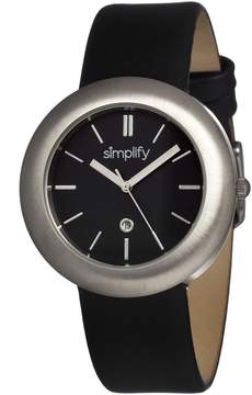 Simplify The 900 Black Dial Black Leather Unisex Watch