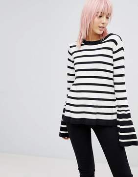 Brave Soul Stripe Sweater With Contrast Flare Sleeve