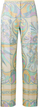 Emilio Pucci Printed Silk-twill Tapered Pants - Lilac