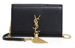 SAINT LAURENT Kate Monogram Leather Tassel Chain Wallet