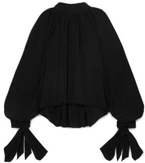 Awake Tie-detailed Cotton-poplin Blouse - Black